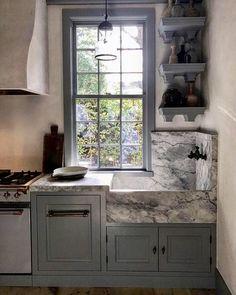 Dream Home: A Modern Ranch Farmhouse Home Design, Kitchen Interior, Kitchen Design, Kitchen Ideas, Stone Sink, Stone Kitchen Sink, Corner Sink Kitchen, Modern Ranch, Gambrel