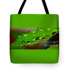 "Droplets on Rose Leaf by Kaye Menner Tote Bag 18"" x 18"" by Kaye Menner"