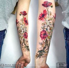 Marya Tyurpeko flower tattoo # Floral tattoo What's Art ? Flower Tattoo Designs, Tattoo Designs For Women, Tattoos For Women, Tattoo Ideas Flower, Colorful Flower Tattoo, Flower Ideas, Henna Designs, Lotus Flower, Leg Tattoos