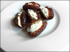 Medjool Dates stuffed with Goat Cheese   http://greatbodyskin.com/medjool-dates-stuffed-with-goat-cheese/