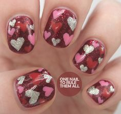 Glitzy love heart nails by One Nail To Rule Them All #valentines