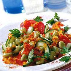 Salada de fava com vinagrete de pimentão