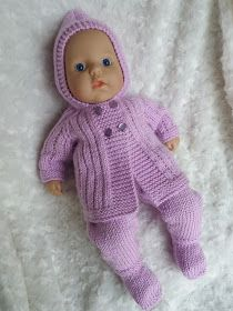 FREE - KNIT - Linmary Knits: ~ Baby Annabell Pram Set (hooded sweater and leggings) ~ Baby Annabell is tall Knitted Doll Patterns, Knitted Dolls, Baby Knitting Patterns, Free Knitting, Free Doll Clothes Patterns, Free Baby Patterns, Knitting Needle Sets, Dress Patterns, Crochet Patterns