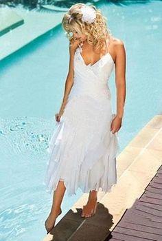 Short V-neck White/Ivory Wedding Dresses Chiffon Bridal Gowns For Beach Wedding