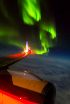 Choose the window seat! Photo by David Mayhew on a flight from Denver to Iceland 10/14/13 SpaceWeather.com -- News and information about meteor showers, solar flares, auroras, and near-Earth asteroids.