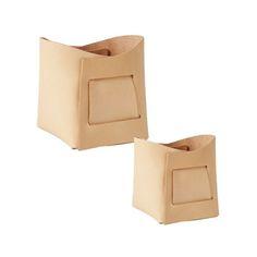 Kori Leather Basket Box : Set of 2 : Natural Leather