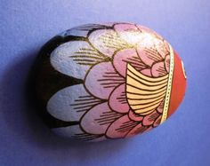 Painted stone purple fish Is Hand Painted with by RockArtAttack