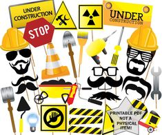 Construction Photo Booth Props: PRINTABLE PARTY