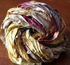 Sun Goddess: Gold/Orange Blend Recycled Silk Sari Ribbon Yarn 100g by Darn Good Yarn | The Best Yarn Store!