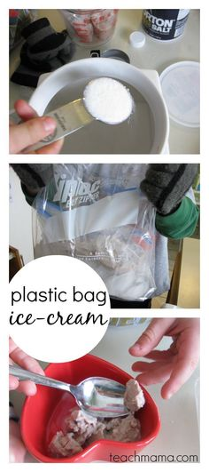 Easy, homemade plastic bag ice-cream that's super simple and tastes amazing! Make this homemade ice cream today with the kids! It's such an easy recipe that the kids will enjoy making and something I like to do when I need a creative indoor activity on a rainy summer day! #teachmama #icecream #icecreaminabag #learning #indooractivity #kidslearning #recipesforkids #handsonlearning