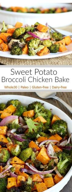 Sweet Potato Broccoli Chicken Bake: A delicious one-dish meal that you and your family will enjoy! | Whole30 | Paleo | Gluten-free | http://therealfoodrds.com