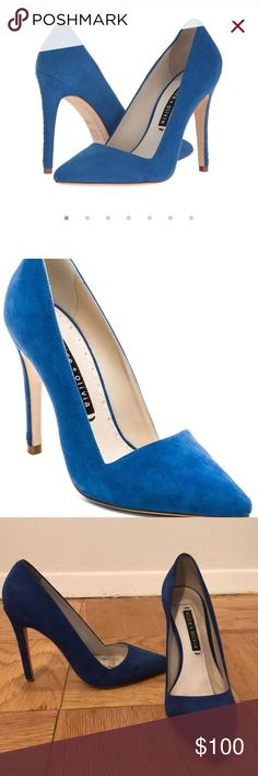 Alice & Olivia Dina Heels Beautiful blue suede signature Alice & Olivia Dina heels. Very sexy and goes with any outfit for the perfect pop of color. They run small so i suggest going up .5 size. I usually take a 38 and in these i have a 38.5. Worn a few times suede and heel is in perfect condition but it is a little dirty on the inside. (Cant be seen when worn) Alice + Olivia Shoes Heels