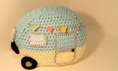 Crocheted Vintage Little Caravan Travel Camper Pillow - Retro Glamping - Camping