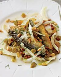 Marinated Sardines with Fennel, Raisins and Pine Nuts - Vegetarian and Pescatarian Mario Batali Recipes from Food & Wine