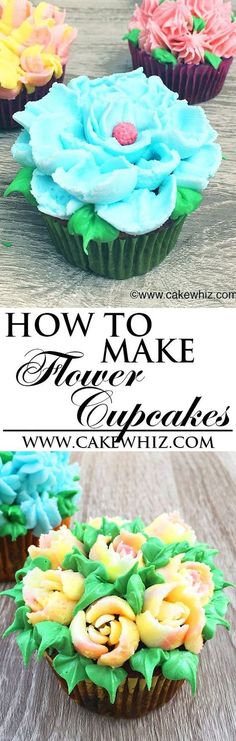 Learn how to make beautiful buttercream frosting FLOWER CUPCAKES, using Russian piping tips. Easy cake decorating technique for beginners. {Ad} From http://cakewhiz.com