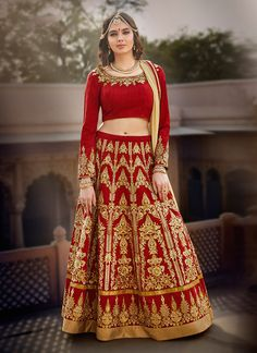 Women s Clothing - Wedding Wear Banglori Silk Red Lehenga Choli - - Red Can Never Make You Wrong For any Occasion.Lehenga Choli - Wedding Wear Banglori Silk Red Lehenga Choli - - Red Can Never Make You Wrong For any Occasion. Bridal Lehenga Online, Lehenga Choli Online, Ghagra Choli, Bridal Lehenga Choli, Party Wear Lehenga, Indian Lehenga, Silk Lehenga, Pakistani, Indian Bridal Wear