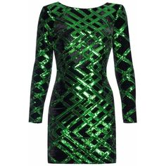 Nissa - Mini Party Dress with Sequins (€360) ❤ liked on Polyvore featuring dresses, long-sleeve mini dresses, long sleeve short dress, green long sleeve dress, long sleeve mini dress and cocktail party dress