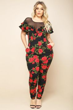 A plus size jumpsuit with a mesh yoke and ruffled trims. Features a cinched waistline and a scooped back. Floral print all over. Fat Fashion, Thick Girl Fashion, Curvy Women Fashion, Womens Fashion, Plus Size Fashion Tips, Plus Size Beauty, Plus Fashion, Plus Size Chic, Plus Size Model