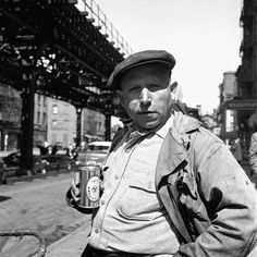 """""""Too much work, and no vacation, Deserves at least a small libation. So hail! My friends, and raise your glasses; Work's the curse of the drinking classes."""" (Oscar Wilde)  Photo: Vivian Maier: 1950s New York"""
