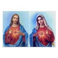 The Sacred Heart And The Immaculate Heart Poster - Custom Posters,. Jesus And Mary Pictures, Mother Mary Images, Images Of Mary, Mary And Jesus, Mary Tattoo, Jesus Tattoo, Christ Tattoo, Image Jesus, Jesus Christ Images