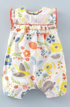Mini Boden 'Pretty' Print Romper (Baby Girls & Toddler Girls) available at #Nordstrom