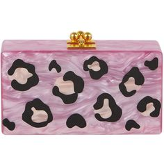 Edie Parker Jean Leopard Box Clutch Bag ($1,385) ❤ liked on Polyvore featuring bags, handbags, clutches, mauve, leopard print handbag, leopard purse, leopard print clutches, box clutch and acrylic purse