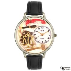 Whimsical Watches Unisex Lawyer Black Skin Leather and Goldtone Watch in Gold