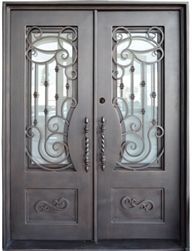 Custom design x Oper-Able Tempered Dual-Pan Glasses Classic Wrought Iron Entry Doors Iron Front Door, Glass Front Door, Glass Doors, Front Doors, Double Door Design, Front Door Design, Door Design Interior, Interior Barn Doors, Exterior Design