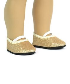 Gold Glitter Flats for 18'' Doll #zulily #zulilyfinds