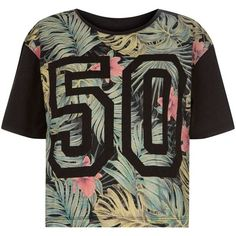 Black Tropical Print 50 Baseball T-Shirt ($8.76) ❤ liked on Polyvore featuring tops, t-shirts, shirts, blusas, baseball style t shirts, black tee, baseball tee shirts, t shirts and black short sleeve shirt