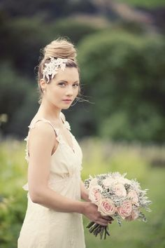 high ballerina bun & delicate lace headpeice (photo by Katy Lunsford) dress by @Claire Pettibone