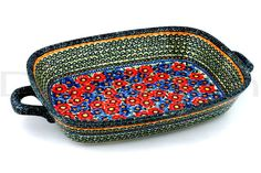Polish Pottery 19-inch Rectangular Baker with Handles | Boleslawiec Stoneware | Polmedia H3491C