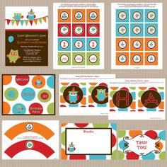owl birthday party package - print at home