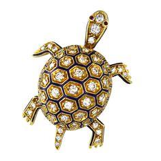 Adorable Art Deco Diamond Enamel and Yellow Gold Turtle Pin at 1stdibs