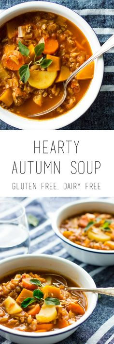 Hearty autumn soup recipe with veggies and minced beef - this soup is a healthy…