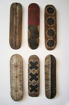 Lingo Series -- SOLD INDIVIDUALLY by George Peterson Recycled skateboards - 31 x 8 inches $500  SOLD