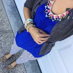 perry street necklace c/o rocksbox + forever 21 peplum + target style jeweled cardigan + ny and co polka dot pants + target style leopard loafers {work wear}