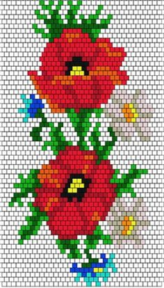 Bead Loom Patterns, Beading Patterns, Cross Stitch Patterns, Seed Bead Flowers, Beaded Flowers, Beaded Banners, Graph Design, Hand Art, Beaded Bags