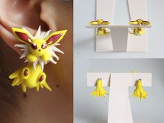 handmade Jolteon eeveelution pokemon earrings out of polymer clay. on sale at: https://www.etsy.com/listing/161464766/jolteon-eeveelution-pokemon-earrings?ref=listing-shop-header-0