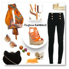"""Platform Sandals"" by sarah-crotty ❤ liked on Polyvore featuring New Look, Balmain, Dolce&Gabbana, Stella & Dot, sandals, jeans, platformsandals and halterneck"