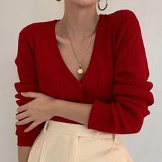 A favorite understated sultry piece. Online now. Classy Outfits, Pretty Outfits, Casual Outfits, Cute Outfits, Red Cardigan Outfits, Cute Fashion, Fashion Outfits, Woman Fashion, Cable Knit Cardigan