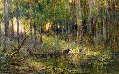 Violet et Or, huile sur toile de Frederick Mccubbin (1855-1917, Australia)