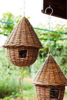 lovely wicker birdhouses