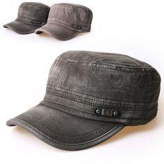 Details about New Mens Cadet Military Hat Cap Trucker Hat Visor Unisex  Black Brown 822c6da6239
