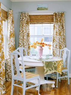 This breakfast nook is all about color, texture, and pattern! http://www.bhg.com/decorating/decorating-style/flea-market/vintage-cottage-style/?socsrc=bhgpin022115casualdining&