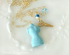 SALE - Tiny Dress Form Charm Necklace on Gold Chain - Scissors, Spool of Thread, Blue Topaz Gemstone - OOAK One of a Kind. $44.00, via Etsy.