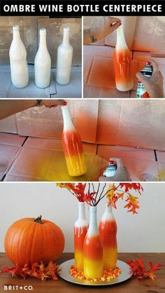 Spray paint branches from the yard, white, yellow, orange, black and maybe purple... Halloween Wine Bottles, Wine Bottle Crafts, Fall Wine Bottles, Empty Wine Bottles, Diy Bottle, Juice Bottles, Bottle Art, Glass Bottles, Purple Halloween