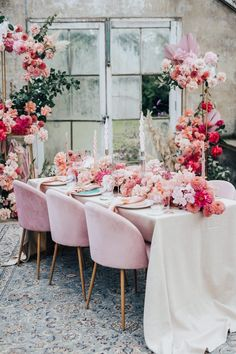 Pink Colour Scheme for Intimate Wedding Inspiration in a Glasshouse Palm Wedding, Pink Wedding Colors, Wedding Table, Wedding Flowers, Wedding Receptions, Wedding Bouquets, Wedding Color Pallet, Pink Color Schemes, Different Shades Of Pink