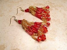 Red and Gold Color Earrings Seed Beaded Beadwork by SharkysWaters