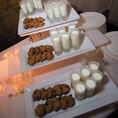 milk and cookie dessert table - what a cool thing to do for a large party/reception!